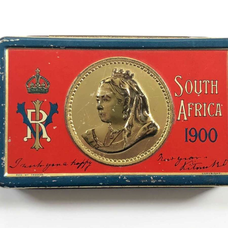 Boer War Christmas chocolate tin and contents by Rowntrees