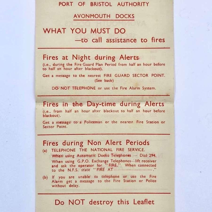 WW2 Bristol Docks Home Front Leaflet.