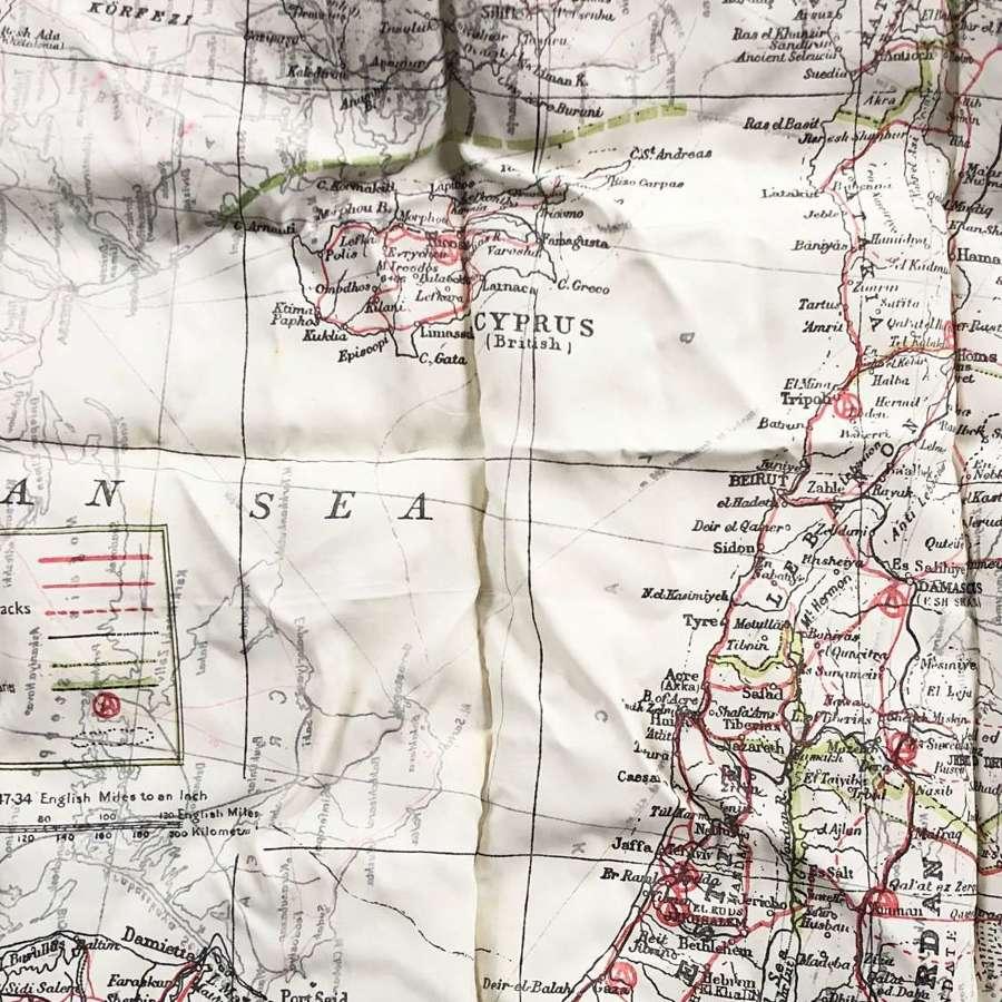 WW2 RAF Escape Silk Map North Africa.