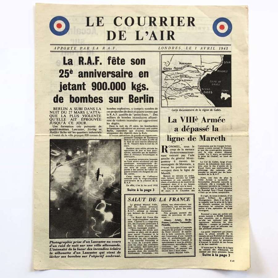 WW2 RAF Aerial Propaganda Leaflet 1st April 1943.